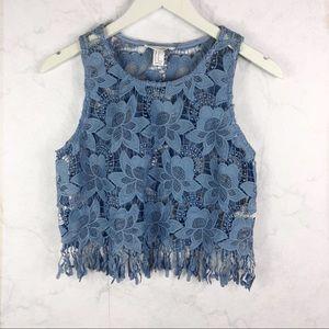 [F21] Floral Lace Fringe Crop Top